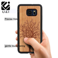 Wholesale Tiger Wood Carvings - For Samsung Galaxy S6 edge S6Edge PLUS Wood Phone Case Cover Laser Carved Wooden TPU Side PC Back Coque Tiger Spider Pattern Coque