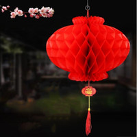 """Wholesale Chinese Plastic Balls - 12"""" Chinese Marriage Wedding Decoration Plastic Paper Lantern New Year Xmas Festival Haning Red Paper Kissing Ball"""