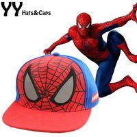 Wholesale Spiderman Baby Hat - New Children Cartoon Spiderman Baseball Caps Baby Boy Snapback Adjustable Children's Sports Hats Fit For 48-53cm YY0773