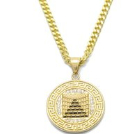 Wholesale egyptian top - Top sale hiphop Gold Egyptian Pyramid Pendant Charm Necklace Iced Out Gold Color Stainless Steel Necklace Chain Women Men Hip hop Jewelry