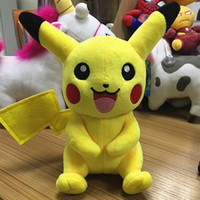 Barato Brinquedos Personalizados-Custom Pikachu Plush dolls 20cm (8inch) desenhos animados Poke Stuffed animals toys soft Christmas toys best Gifts EMS SHIPPING
