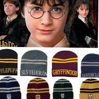 Wholesale dot cosplay online - Harry Potter Hogwarts Beanie Hat Gryffindor Slytherin Hufflepuff Ravenclaw Cap Warm Wool Knit Hat Cosplay School Striped Badge Hats KKA1387