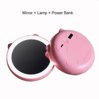 nette batteriebank großhandel-5200Mah Kapazitäts-Spiegel-Lampen-Energie-Bank Nette runde externe Batterie-Energie-Bank für Handy Portables Universalladegerät