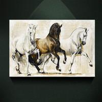 ingrosso immagine di arte nera per salotto-Moderna pittura a olio europea tre in bianco e nero elegante cavallo stampa su tela decorazione della parete di arte poster su tela per soggiorno