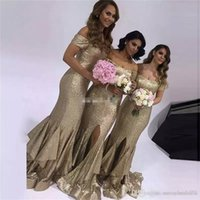 Wholesale sexy wedding evening party dresses for sale - Group buy Plus Size Mermaid Sequined Bridesmaid Dress Sexy Off the Shoulder Cap Sleeves Ruffles Train Wedding Party Evening Gowns Prom with Split