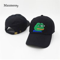 Wholesale K Pop Snapback - Wholesale- Maxmessy FROG Embroidery Baseball Cap Men Hat Solid Color Cotton Women Black Men Snapback Golf Sport Hat mutsen mannen K pop