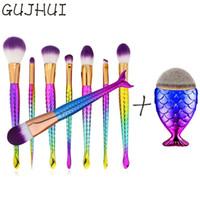 Wholesale kabuki blusher brush resale online - Gujhui Hot Mermaid Brush Kabuki Make Up Brushes Set Makeup Foundation Powder Blusher Face Brush Brush Cosmetics