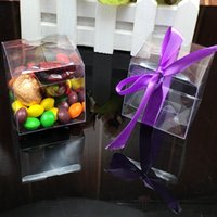 Atacado-50 Peças / Lote Claro PVC Square Wedding Favor Caixa De Presente Transparente Party Candy Bags Wholesales