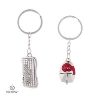 Wholesale Key Rings Male - Fashion & brief key rings Mouse & keyboard charm keychains male female couple key chains gift for best friends