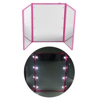 Wholesale makeup mirror battery - 8 LED makeup mirror LED make up mirror foldable inside battery mini foldable Portable Folding Compact Cosmetic with LED Light retail box