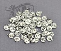 letras del alfabeto de bronce al por mayor-Al por mayor- 78pcs / lot - 12 mm, plata antigua / bronce / oro forma redonda 26 letras inglesas iniciales encantos, fuentes de bricolaje
