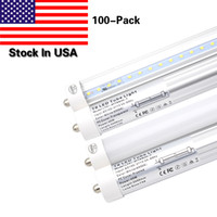 100 Pack Single Pin FA8 Base 8FT LED Light Tube Trabalho sem lastro 45W, substituição 90W fluorescente Lamp Shop Lights T8 Dual