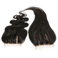 insan saçı dantel kapama parçaları toptan satış-3 Kısmı Dantel Kapatma Düz Perulu Bakire Saç Doğal Renk 100% İnsan Saç Dantel Ön Kapatma Parçası Ağartılmış Knot 8-20 inç