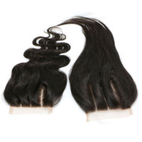 Wholesale indian virgin front closure resale online - 3 Part Lace Closure Straight Peruvian Virgin Hair Natural Color Human Hair Lace Front Closure Piece Bleached Knots inch