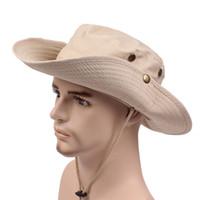 Wholesale Men Safari - Men Women Cotton Cowboy Caps Wide Brim Sun Hat Outdoor Bucket Boonie Hat Cowboy Safari Cap for Fishing Golf Hiking Hunting Camping