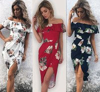Wholesale red chiffon irregular dress - 2017 summer irregular party dresses for womens floral printing dress sexy off shoulder dress plus size women clothes