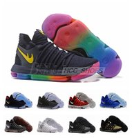 Wholesale 2017 New Arrival KD X Oreo Still Zoom KD10 Anniversary Black Green White Chrome Pure Platinum Rainbow Men Basketball Shoes US