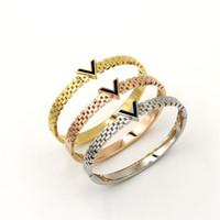 Wholesale Women Watches Korean - Stainless Steel 18K Gold Plated Bangle Bracelets Black Hollow V Bracelets for Women Watch Strap In Imitation of The Korean Women's Jewelry