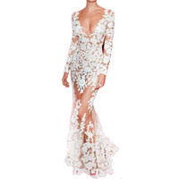 full sleeve lace maxi dress UK - Autumn Runway Dresses Women High Quality Mermaid Long Sleeve Plunge Celebrity White Lace Dress Full-Length See Through Dress