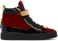 Wholesale New Fashion Italian Shoes - (with box)Italian designer Fashion Brand new High-top men suede sneakers in black red blue,Round toe Gold-tone hardware Lace up casual shoes