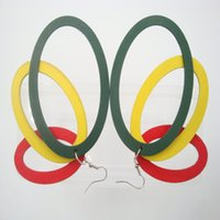 Wholesale Women Charming Green Red Yellow Exaggerated Big Wooden Oval Hollow Hoops Eardrops Sexy Drop Dangle Earrings