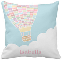 "Wholesale Pastel Decor - Pillow Case, Pastel Hot Air Balloon Nursery Room Decor Square Sofa Cushions Cover, ""16inch,18inch,20inch"", Pack of X"