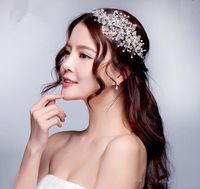 Wholesale Tiaras Bridal Korea - 2017 Wedding Dresses Hair Accessories Korea Shining Wedding Bridal Crystal Veil Faux Pearls Tiara Crown Headband Hair Accessories for party