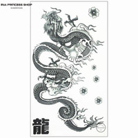 Wholesale Tattoo Sticker Body Dragon - Wholesale-Long Chinese Dragon Temporary Tattoo Body Art Flash Tattoo Stickers 17*10cm Waterproof Fake Tatoo Car Styling Wall Sticker