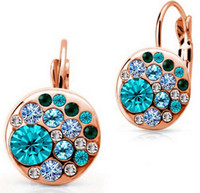 Wholesale Costume Clip Earrings Wholesale - Fashion 18K Rose Gold Plated Rhinestone Multicolor Round Clip on Earrings for Women African Costume Swarovski Crystal Earrings Wholesale