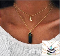Wholesale Glass Stone Pendant - Natural stone glass necklace Europe and the United States fashion double moon crescent bullet head pendulum pendant necklace acc223