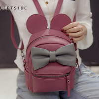 Wholesale Big Ears Bag - Wholesale- LEFTSIDE 2016 New Cute Butterfly Knot Backpack Mini Big Ears Single Women Backpacks Quality PU Leather Bagpack for girls