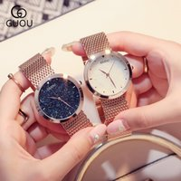 Wholesale Ladies Rose Gold Chronograph Watch - GUOU Luxury Brand Lady Rose Gold White Watches High Quality Quartz Wristwatches For Women Fashion Exquisite Women Watches Free Shipping