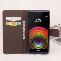 Wholesale Option Process - Folio Wallet PU Leather Protective Flip Stand Cards Slots Case with Tower Embossing Process for LG X Power More Models option