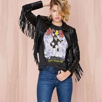 Wholesale Leather Jacket Women Punk Rock - Wholesale- 24308014 Women Punk Rock Fashion Loose Solid Long Sleeve With Tassels Turn-down Collar Short PU Leather Jacket Black NTHYD