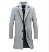 Wholesale Men Long Paragraph Suit - Wholesale- New men's woolen coat solid color Fashion long paragraph Slim lapel coat male Business suits men's casual jacket 4XL 5XL