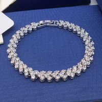 Wholesale Nobility Silver - New Style Nobility 925 Sterling Silver BRACELET with Clear CZ Stone Rhinestone Bangle For Women Fashion Jewelry Wholesale sales