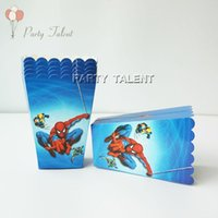 Wholesale Baby Shower Themes Wholesale - Wholesale-6pcs lot Popcorn Box for Kids Children Spiderman Theme Birthday Party Baby Shower Party Decoration Party Supplies