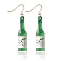 Wholesale Sake Glasses - Popular Unique Design Korea Sake Glass Bottle Shaped Earrings for Girls Fashion Accessories 20 pcs free ship