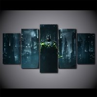 Wholesale Digital Movie Picture Frames - 5 Pcs Set Framed HD Printed Batman Dark Knight Building Picture Wall Art Canvas Room Decor Poster Movie Abstract Oil Painting