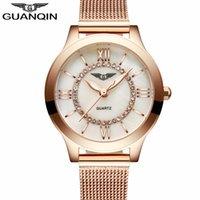 Wholesale Guanqin Watch Ladies - GUANQIN Ladies Watches Gold Watch Women Dress Top Brand Women's Fashion Stainless Steel Bracelet Quartz Watch Relogio Feminino