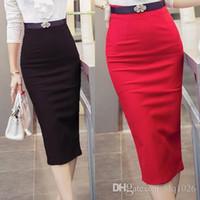 Wholesale Straight Skirts Knee Length - Fashion 2016 Women Skirt OL Sexy Slim Stretch High Waist Pencil Skirt Elegant Ladies Skirts Free Shipping
