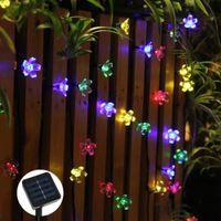 dış mekan yılbaşı dekorasyonları güneş aydınlatma toptan satış-Güneş dize ışıkları su geçirmez IP65 Bahçe Noel 7 M 50led Şeftali Çiçek açık yeni fariy Noel Bahçe dekorasyon aydınlatma