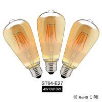 Wholesale vintage light globe - 4W 6W 8W Dimmable COB LED Vintage Filament Retro Edison Bulbs 220V 110V ST64 2200K 27000K Filament Lamp Vintage Lighting