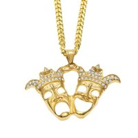 Wholesale Ghost Pendants - Fashion Men Hip hop Clown Double Ghosts Pendant Necklace Stainless steel Rhinestone Necklaces Gold plated Mask Hiphop Rapper Punk Jewelry