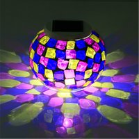 Wholesale Mosaic Glass Lamps - Solar Powered Mosaic Glass Ball LED Garden Lights,RGB Solar Table Lamps Waterproof Solar Outdoor Lights for Christmas table lam
