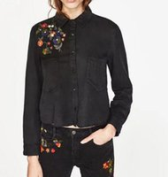 Wholesale Women Wear For Office Blouse - 2017 New Spring Women Blouse Shoulder Flower Embroidery Pocket Shirts Women office wear black Tops blouse for business LS1021
