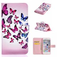 flip flip achat en gros de-Fleur De Mode Fleur Papillon Portefeuille En Cuir Flip Couverture Pochette De Peau Cas pour iphone 7 plus 6S 5S SE S5 S6 Bord