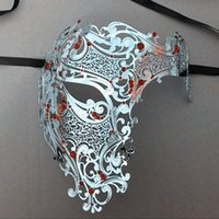 Atacado Devil Black Meia Face Crânio Natal Filigree Party Mask Silver Red Rhinestones Skeleton Metal Prom Bola Gold Masquerade Máscara