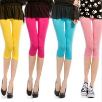 Wholesale Ladies Candy Color Pants - Wholesale- 1 PC 11 Colors New 2016 Summer Style Candy Color Women Cropped Leggings 3 4 Length Lady Leggins High Elastic Pants Free Shippi