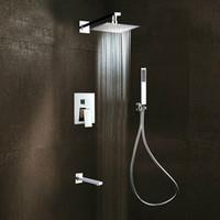 Wholesale Square Tap Shower Tub - Square Rain Shower Head Faucet 3 Ways Valve Mixer Tap Tub Spout Hand Shower